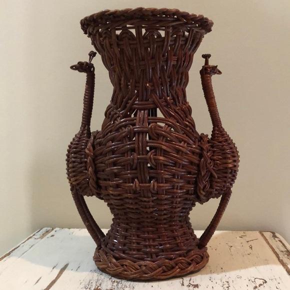 Wicker Peacock Vase